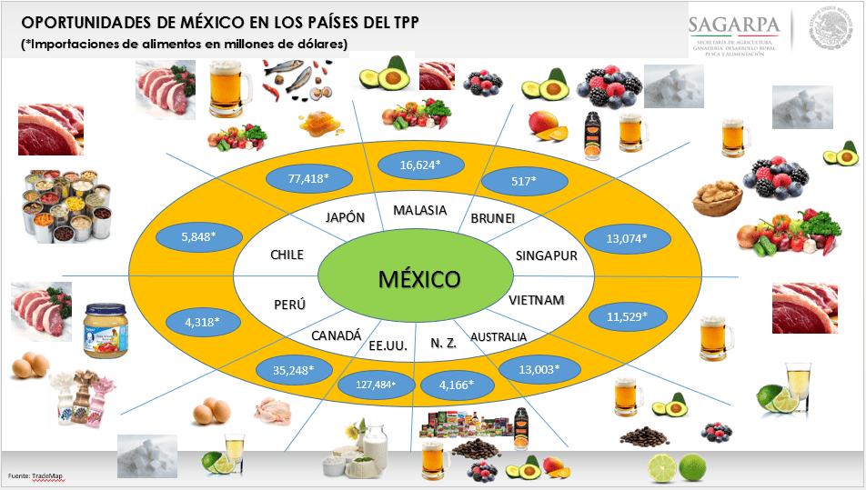 Gráfico: Sagarpa. México busca ampliar la cobertura de sus preferencias comerciales a través de iniciativas como el TPP.